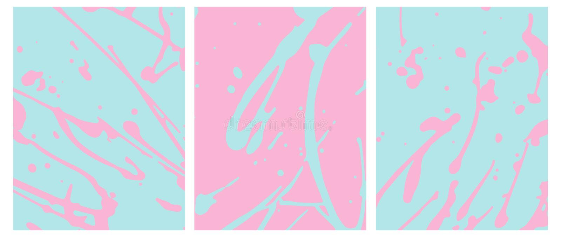 Ojämnt handgjort ljus - rosa färgstänk på en blå bakgrund Blåa kludd på en rosa färg royaltyfri illustrationer