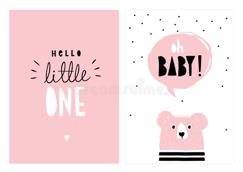 Oj behandla som ett barn, den Hello ungen Hand dragen baby showervektorIlllustration uppsättning stock illustrationer