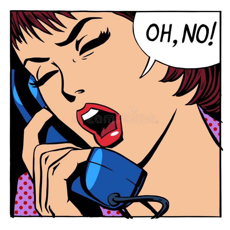 Oj ingen emotionell samtalkvinnatelefon stock illustrationer