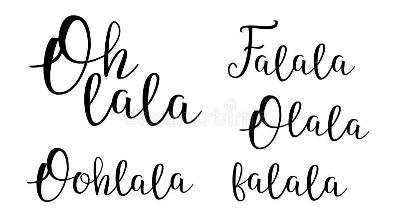 Oj Lala Vector Decorative Cursive Calligraphy uppsättning stock illustrationer