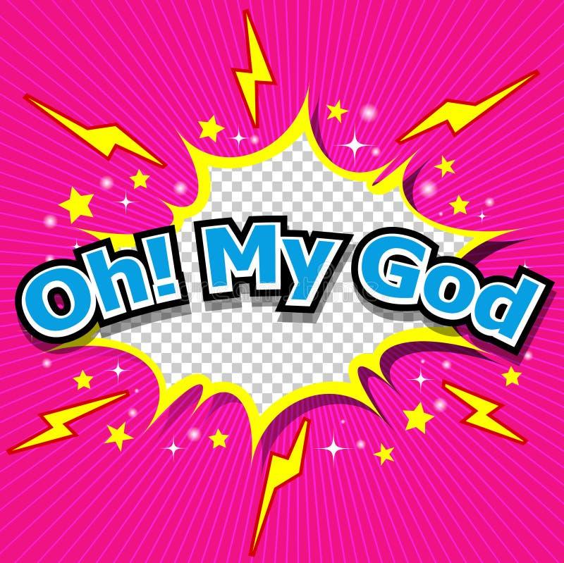 Oj! Min komiska anförandebubbla för gud, tecknad film stock illustrationer