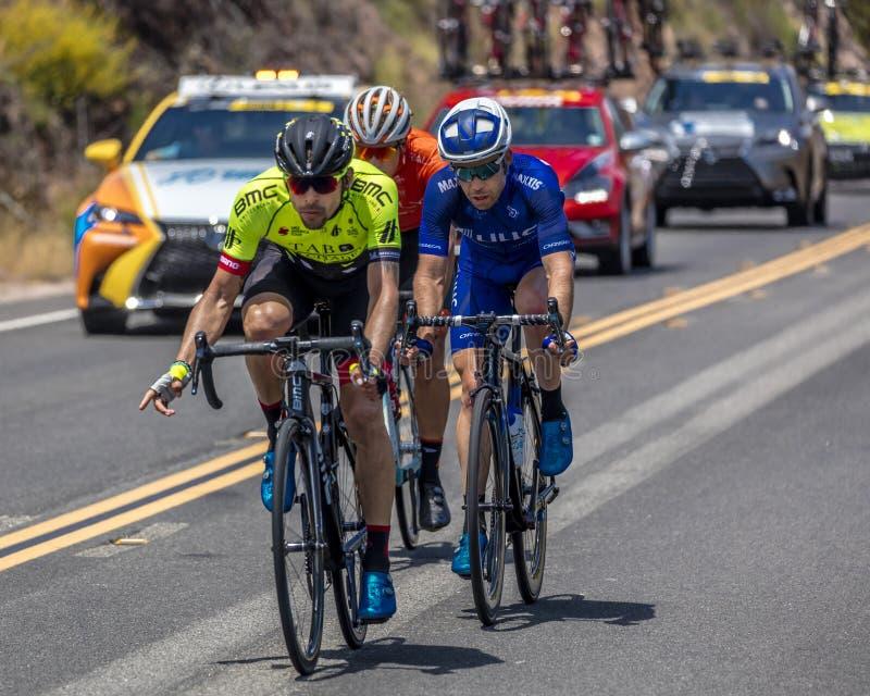 OJAI LA CALIFORNIA U.S.A. - 14 maggio 2018 - mettono in scena 2 capi del percorso in bicicletta degli uomini di Amgen della Calif immagine stock