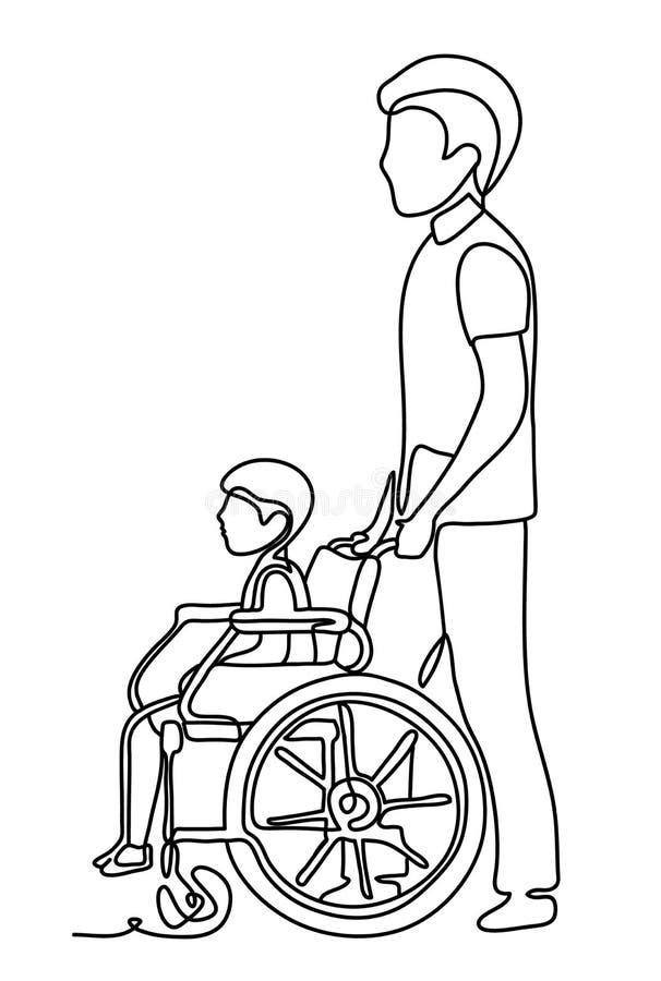 Ojca bieg z niepełnosprawnym synem w wózku inwalidzkim pojedynczy białe tło Ciągły kreskowy rysunek Wektorowy monochrom ilustracja wektor