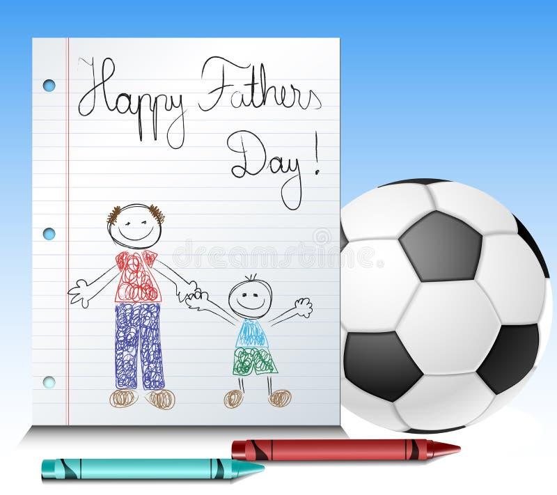 Ojca dnia dzieciaka rysunek z piłką i kredkami ilustracji