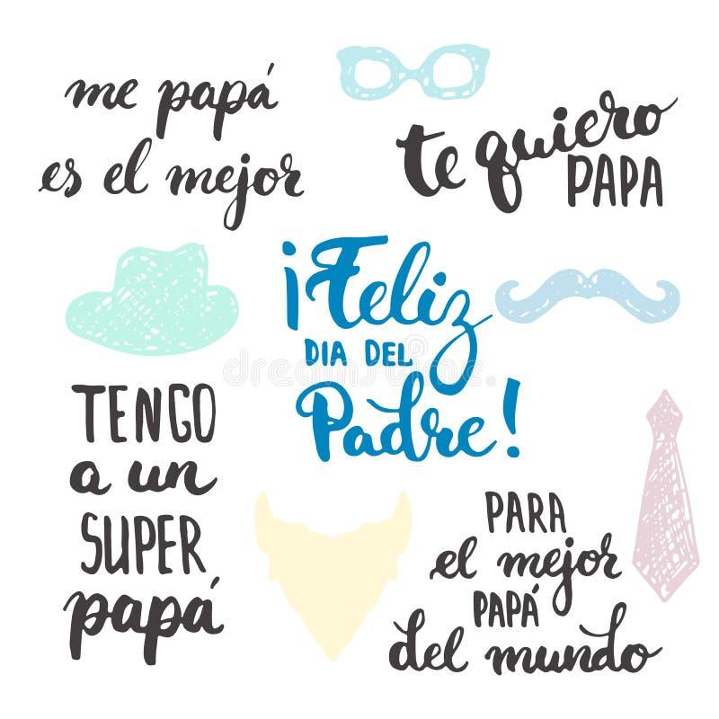 Ojca dnia literowania kaligrafii zwroty ustawiają w hiszpańszczyzny Feliz dia Del Padre, Tengo un Super, tata, Te quiero, tata ilustracji