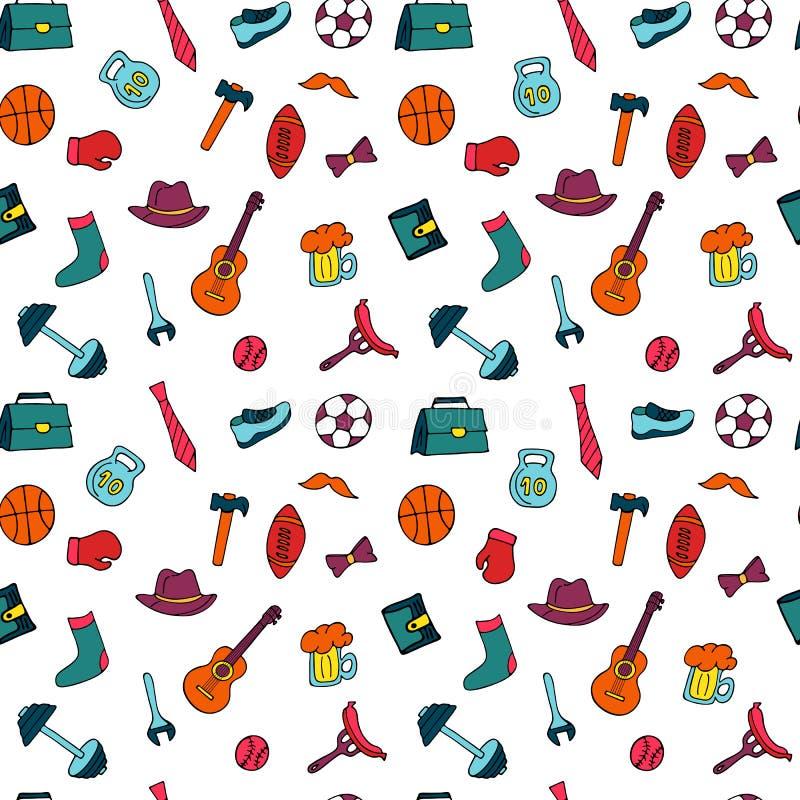 Ojca dnia wakacyjny bezszwowy wzór w doodle stylu Mężczyzn s styl życia, sporta wyposażenie, odzieżowy, i akcesoria royalty ilustracja