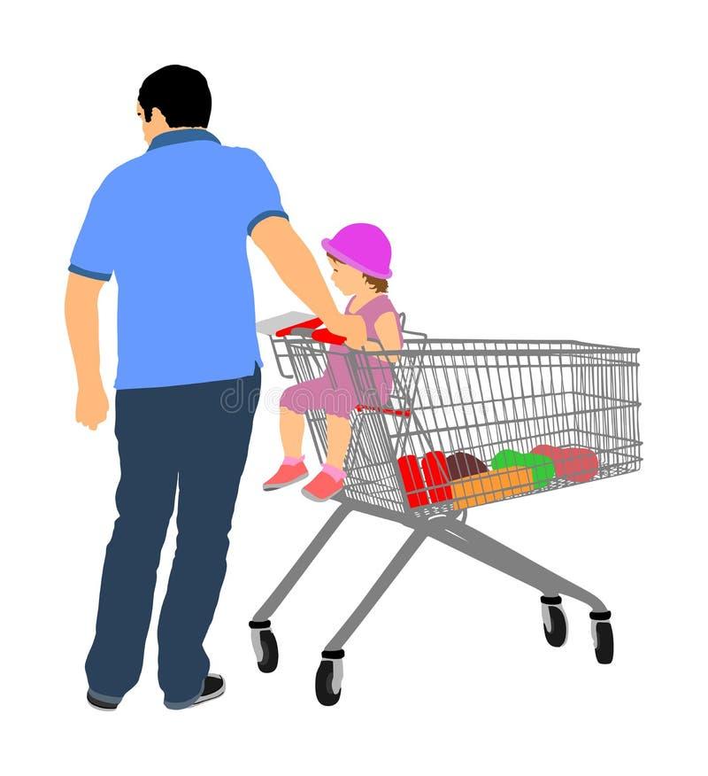 Ojca dowcipu mała córka w wózek na zakupy Mężczyzna robi codziennemu sklepu spożywczego kupieniu przy supermarketem royalty ilustracja