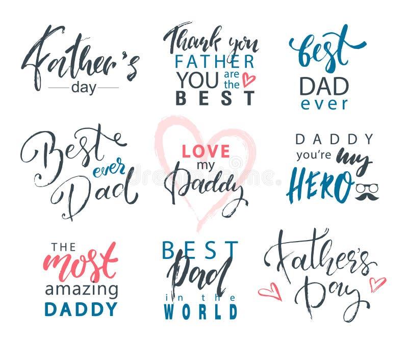 Ojca dzień Pisze list Kaligraficznych emblematy, odznaki Ustawiać Szczęśliwy ojca dzień, Najlepszy tata, Kocha Ciebie tata inskry ilustracji