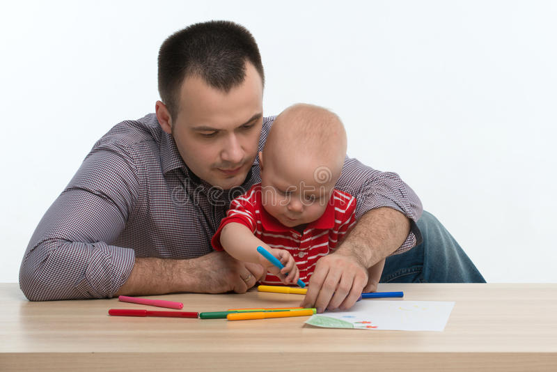 Ojca i berbecia syna rysunek zdjęcie stock