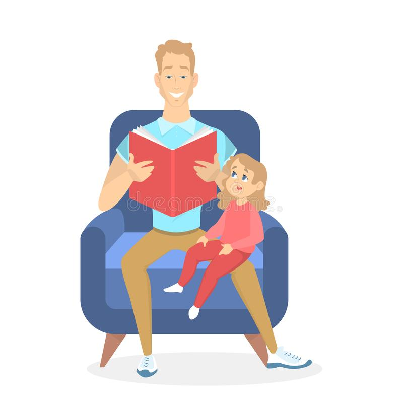Ojca i córki obsiadanie w karle royalty ilustracja