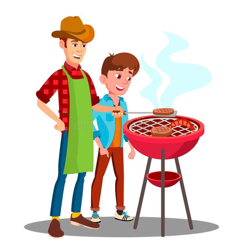Ojca I syna Kulinarny grill Na grilla wektorze Wpólnie button ręce s push odizolowana początku ilustracyjna kobieta royalty ilustracja