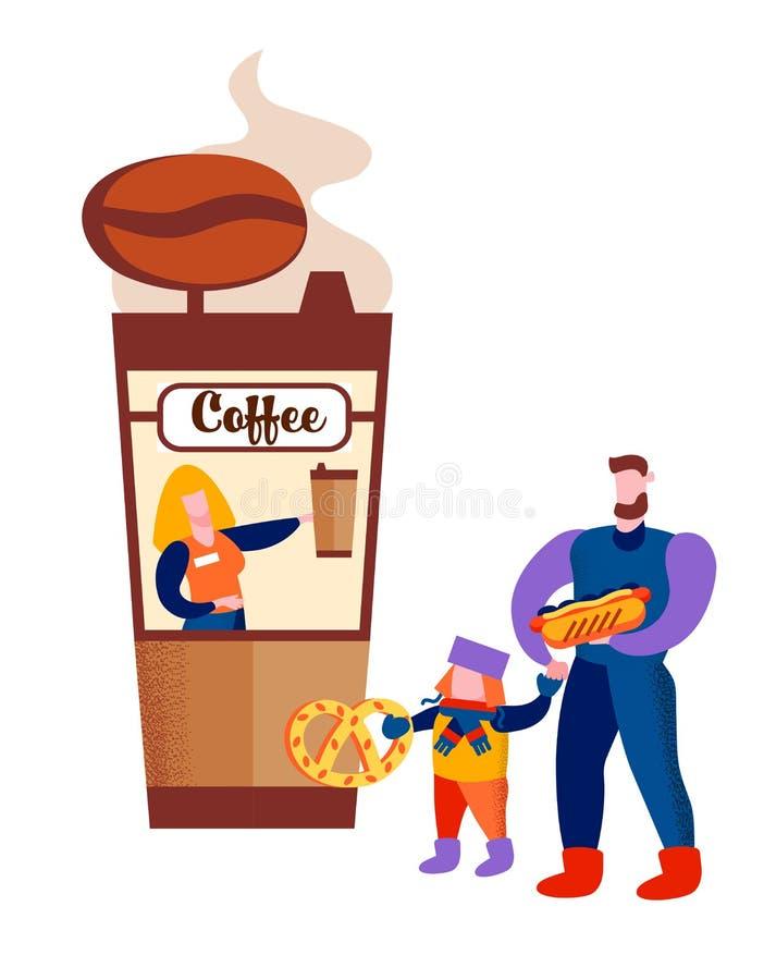 Ojca i syna mienia fast food przy sklepem z kawą ilustracji