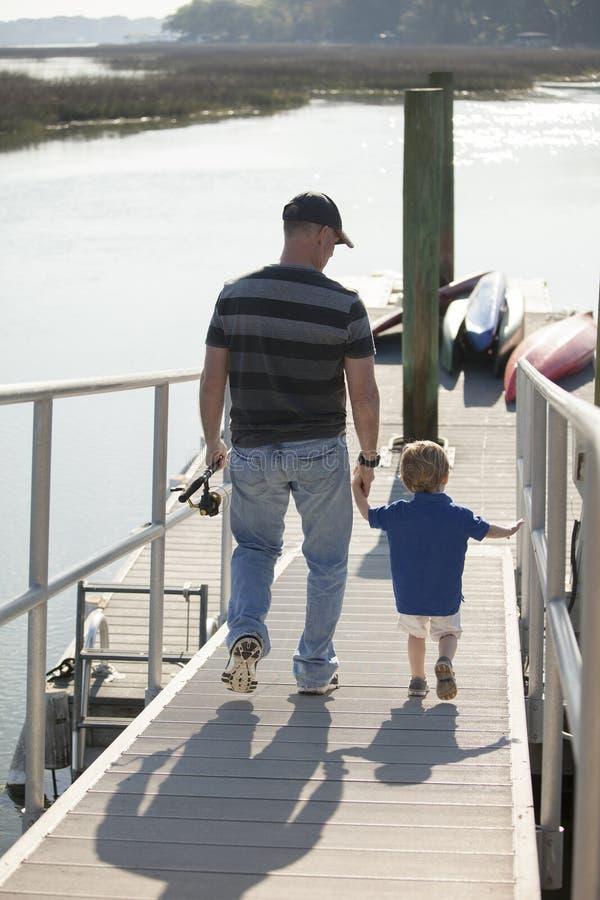 Ojca i syna połów obrazy royalty free