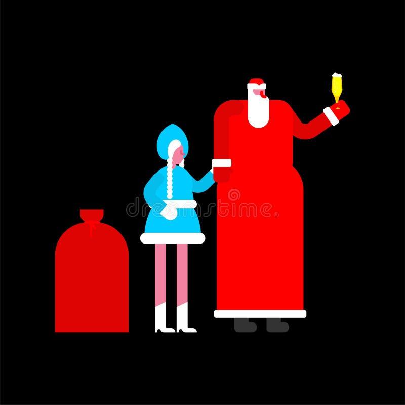 ojca mrozowy dziewczyny śnieg claus rosjanin Santa Tradycyjny N ilustracja wektor