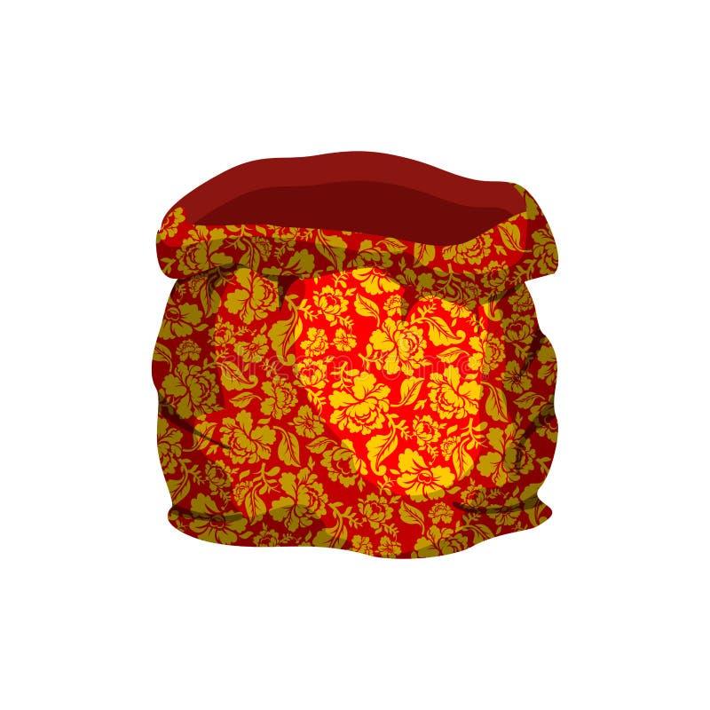 Ojca mrozu otwarty pusty worek malował Khokhloma dla nowego roku torba royalty ilustracja