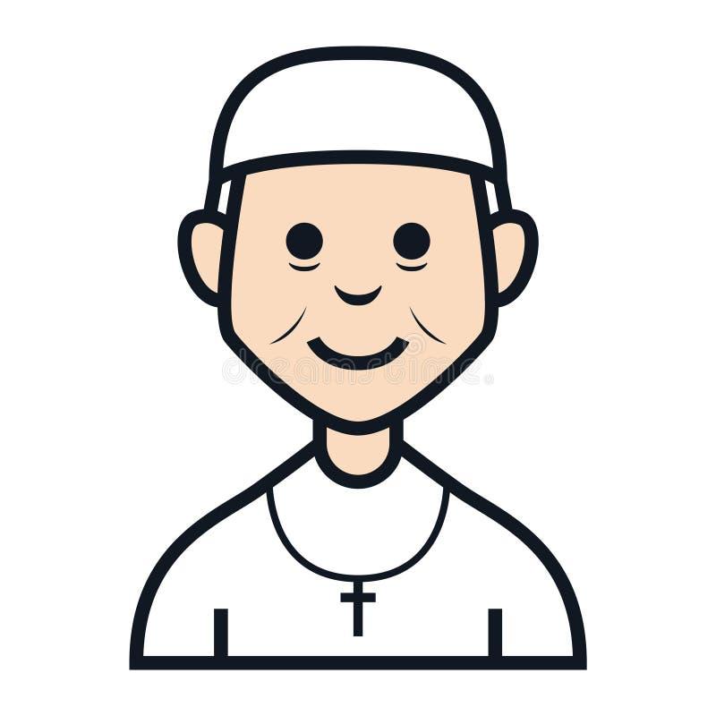 Ojca padre starego człowieka avatar charakteru chrześcijańscy ludzie ilustracji