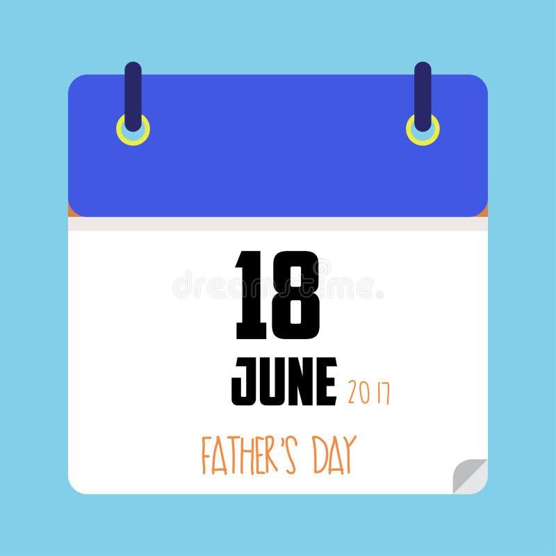 Ojca ` s dnia kalendarzowa data ilustracja wektor