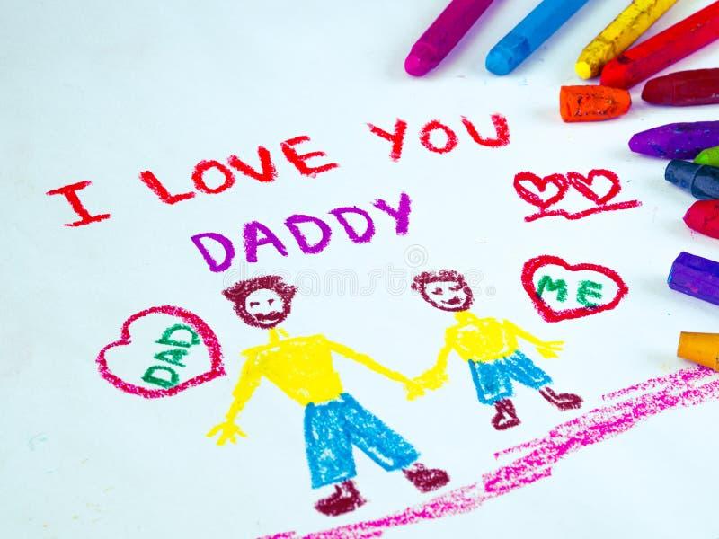 Ojca ` s dnia temat z KOCHAM CIEBIE ojczulek wiadomość zdjęcia stock