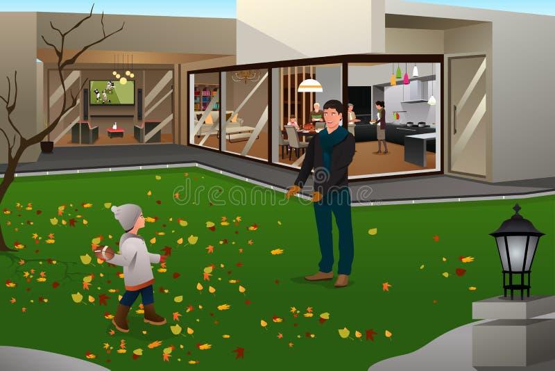 Ojca syn Bawić się futbol na dziękczynieniu royalty ilustracja