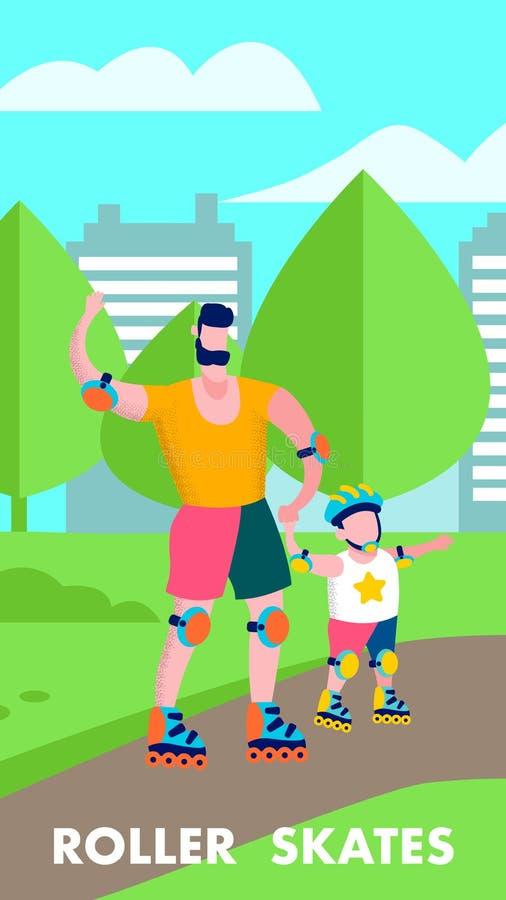 Ojca syna Rolkowej łyżwy mieszkanie Motywuje Szczęśliwego sztandar ilustracji