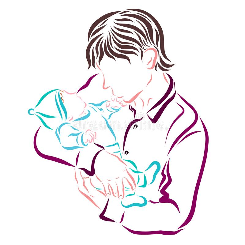 Ojciec całuje rękę nowonarodzony dziecko ilustracja wektor