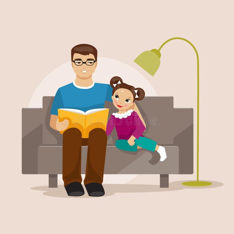 Ojciec czyta książkę jej córka również zwrócić corel ilustracji wektora royalty ilustracja
