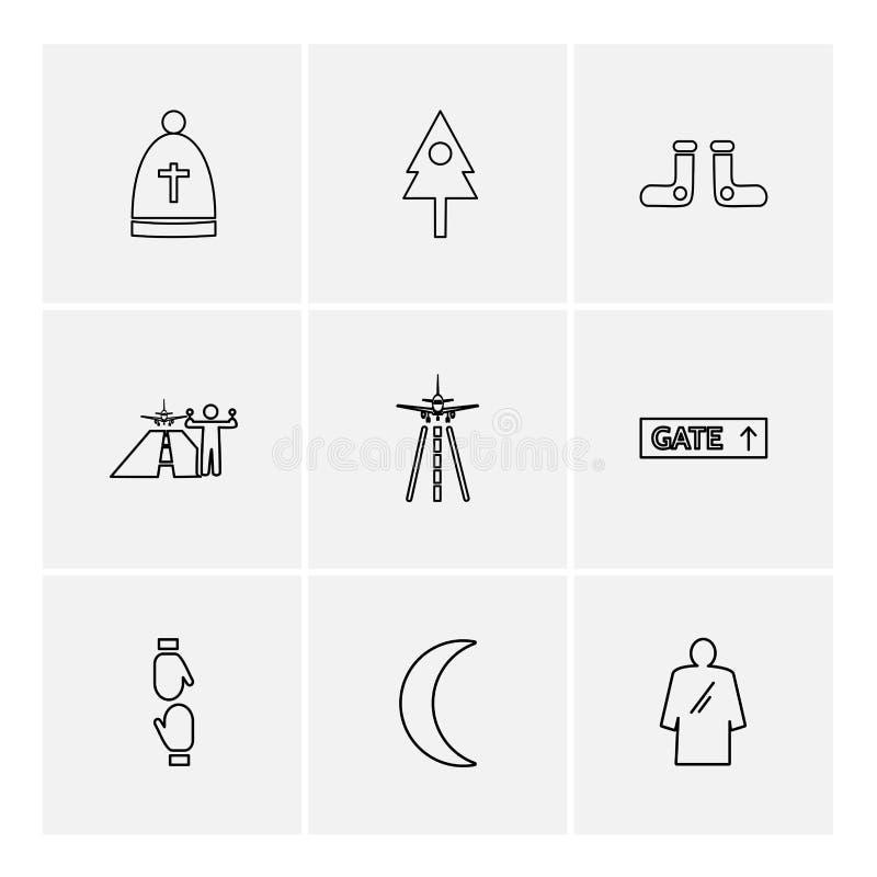 ojciec, drzewo, crecent, flagi, serca, kamera, pupil ilustracji