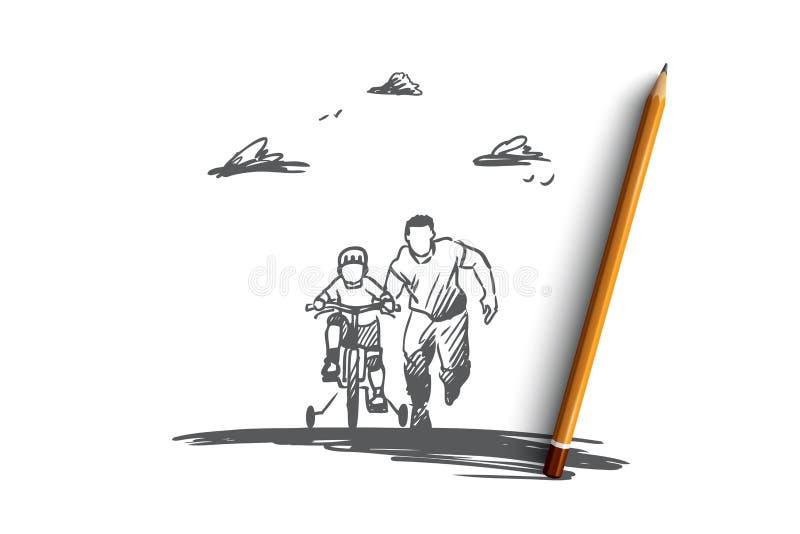 Ojciec, dzień, rodzina, dziecko, szczęśliwy pojęcie Ręka rysujący odosobniony wektor ilustracji