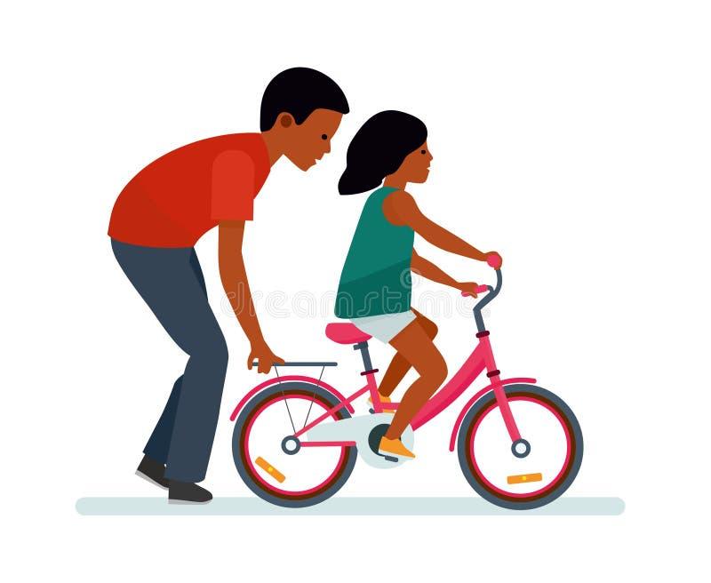 Ojciec i córka Ojciec pomaga córka jechać rower Biały tło Amerykan Afrykańskiego Pochodzenia ludzie ilustracja wektor