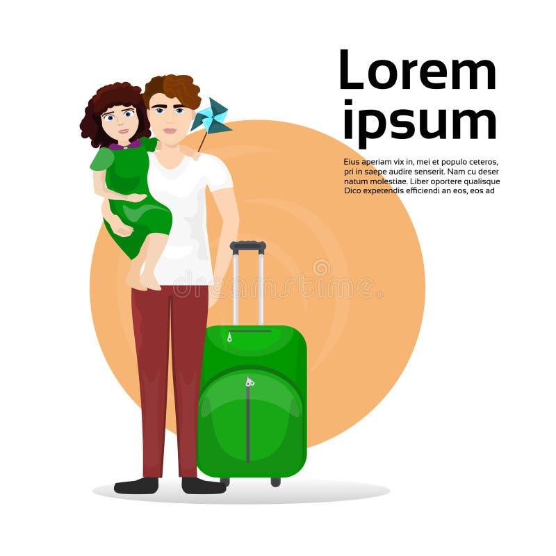 Ojciec I córka Z bagaż walizką Nad tłem Z Odbitkowym pojęciem podróży kosmicznej I turystyki ilustracja wektor