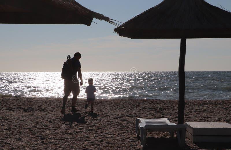 Ojciec i chłopiec bawić się na plaży przy zmierzchu czasem, pojęcie życzliwa rodzina zdjęcie royalty free