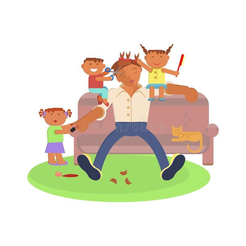 Ojciec i dzieci ilustracja wektor