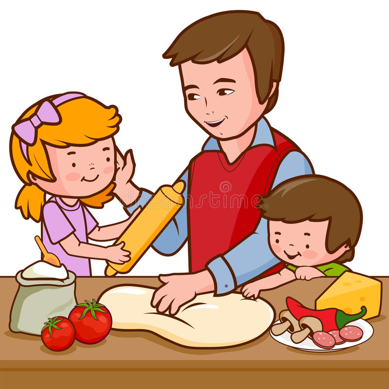 Ojciec i dzieci gotuje pizzę w kuchni ilustracji