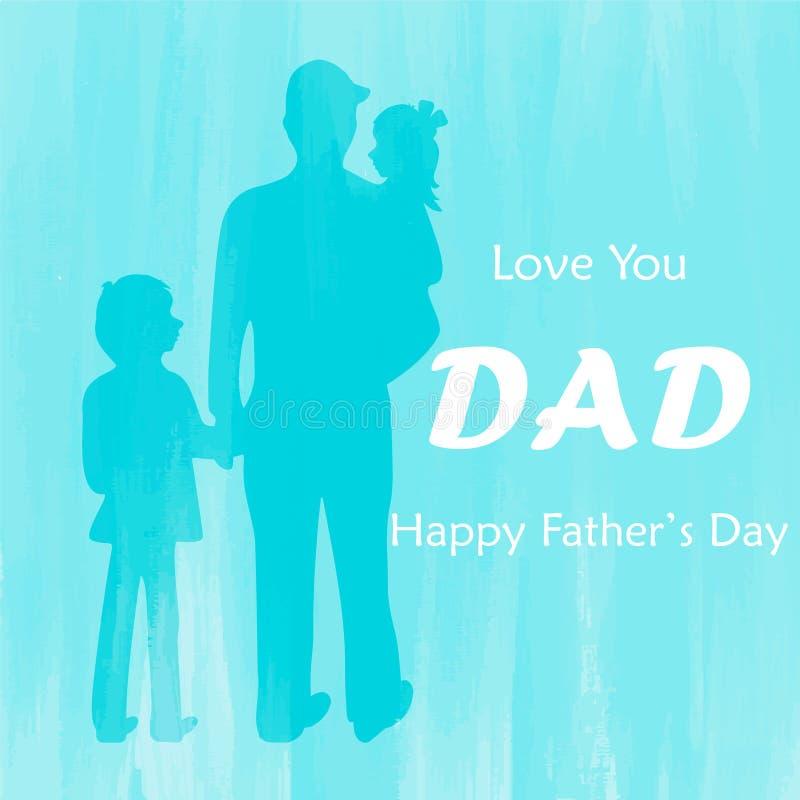 Ojciec i dzieci z Szczęśliwym ojca ` s dnia tłem royalty ilustracja