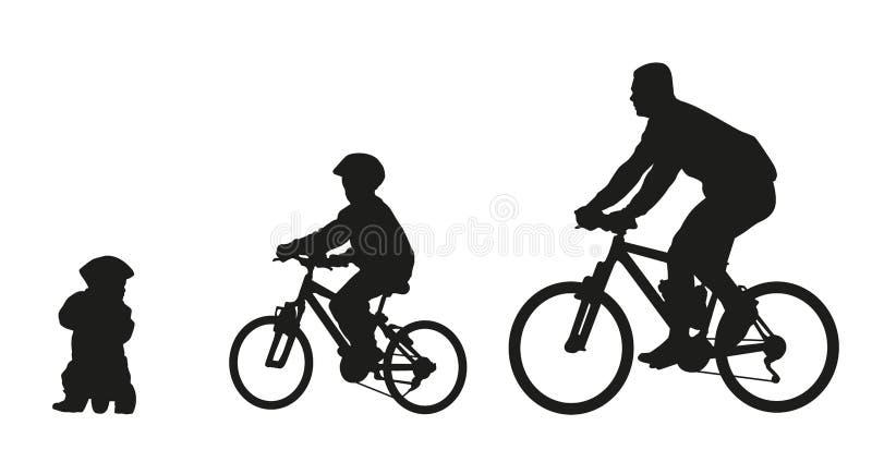 Ojciec i dzieciaki na rowerze royalty ilustracja