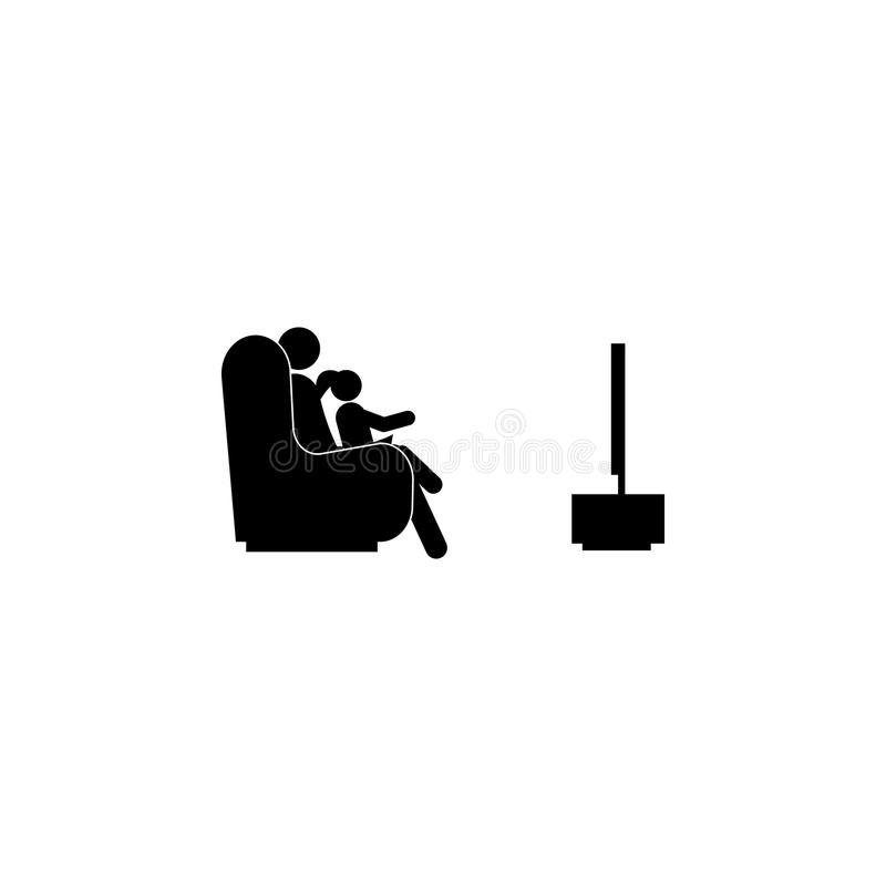 ojciec i dziecko ogląda TV ikonę Element szczęśliwa rodzinna ikona Premii ilości graficznego projekta ikona Znaki i symbolu colle royalty ilustracja