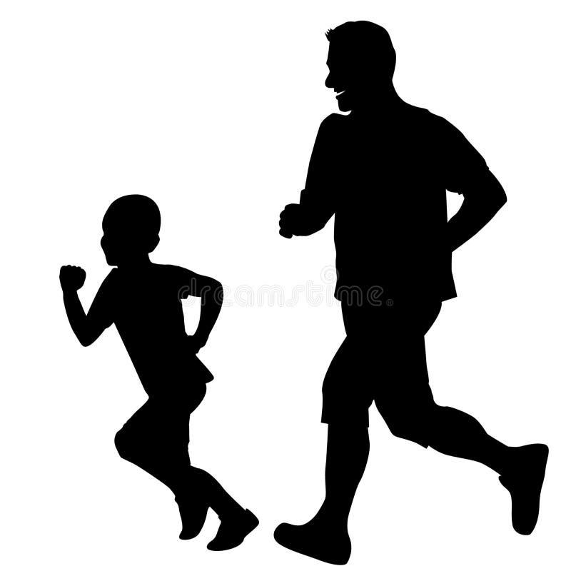Ojciec i syn biega wp?lnie ilustracji