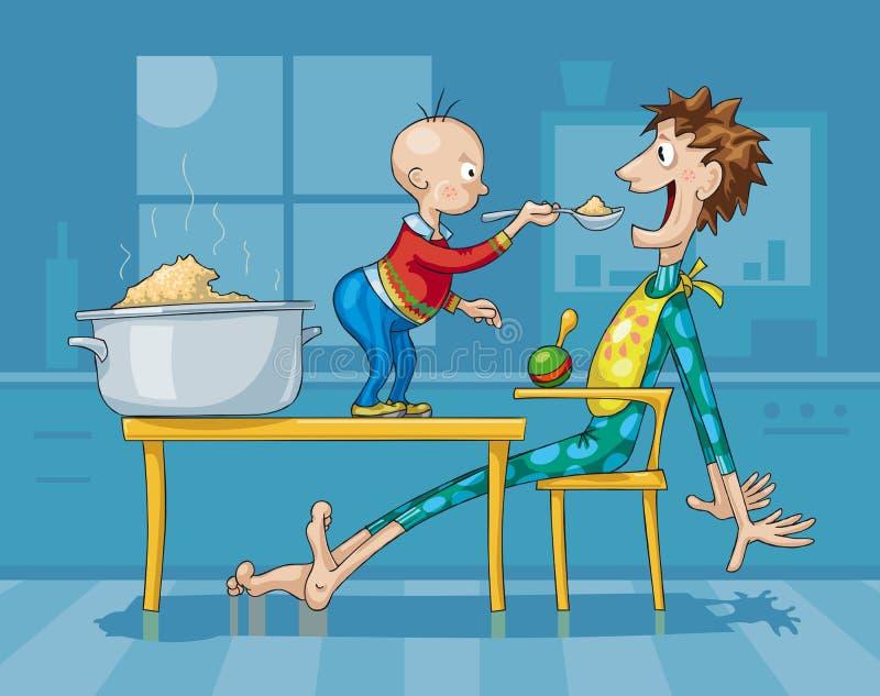 Ojciec i syn Ma śniadanie z owsianką ilustracji