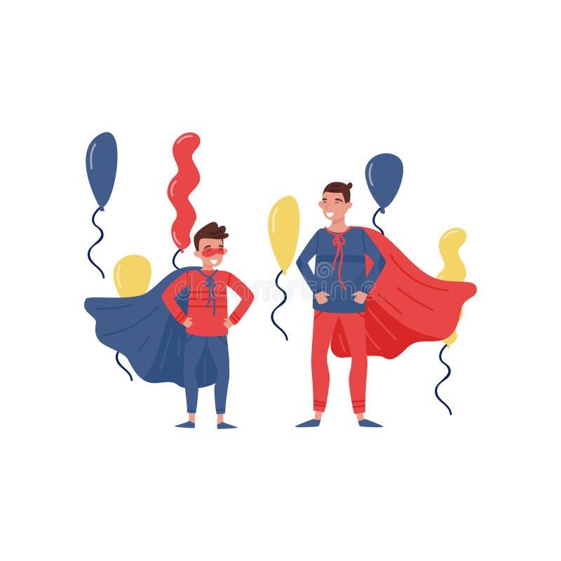 Ojciec i syn ma zabawę przy przyjęciem Rozochocony mężczyzna i chłopiec ubierający jako superheros Ojcostwo temat Płaski wektorow royalty ilustracja