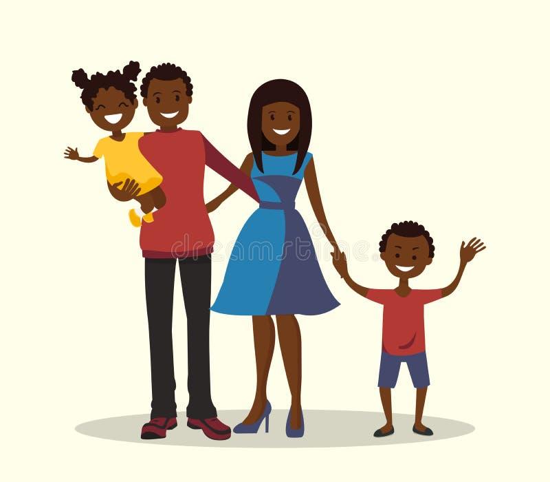 Ojciec, matka, syn i córka, afroamerykańska rodzina royalty ilustracja