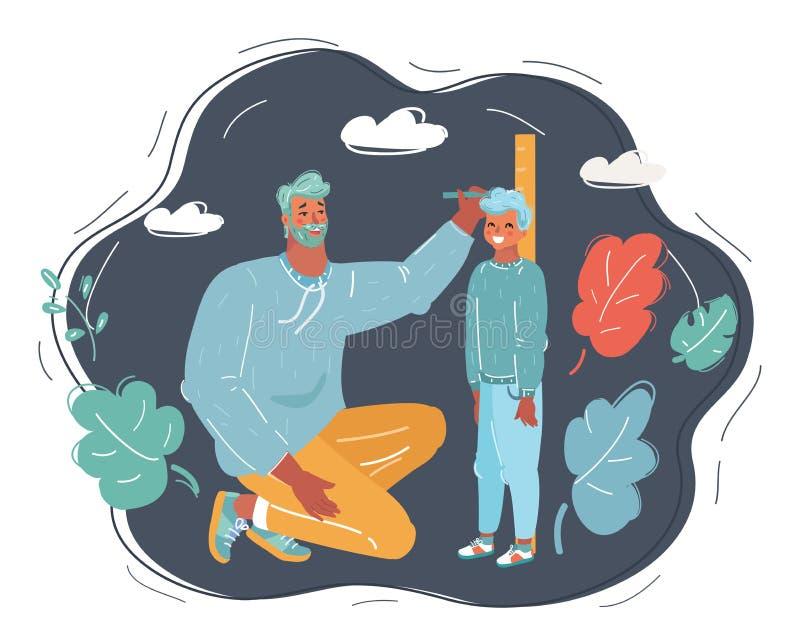 Ojciec mierzy przyrosta jego syn royalty ilustracja