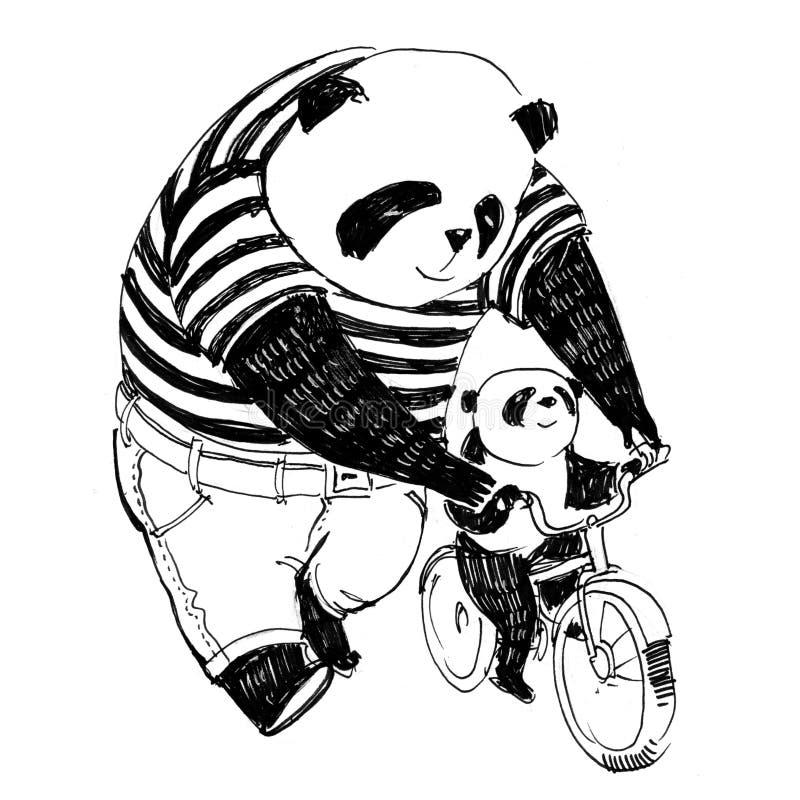 Ojciec panda w czarny i biały koszulce uczy kolarstwo b ilustracja wektor