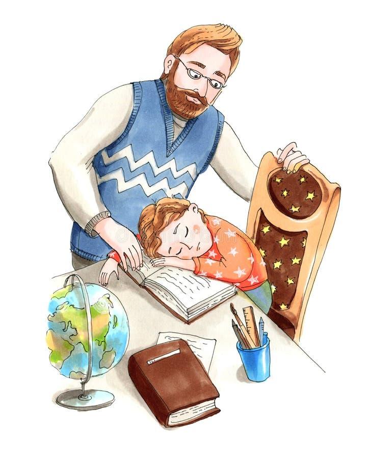 Ojciec patrzeje jego sypialnego syna Domowa edukacja royalty ilustracja