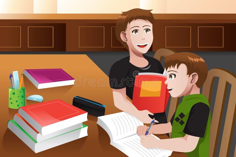 Ojciec pomaga jego syna robi pracie domowej ilustracja wektor