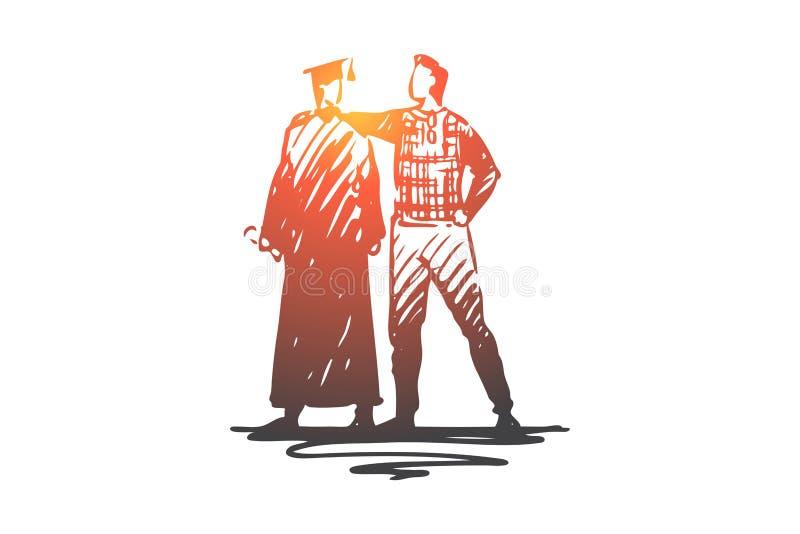 Ojciec, syn, uczeń, uniwersytet, skalowania pojęcie Ręka rysujący odosobniony wektor ilustracji