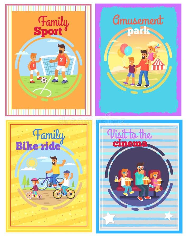 Ojciec z Śmieszyć z dzieciakami Ustawiającymi Cztery karty ilustracji