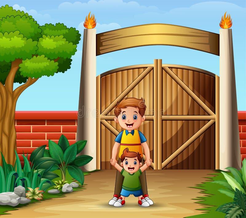 Ojciec z jego synem wśrodku bramy royalty ilustracja
