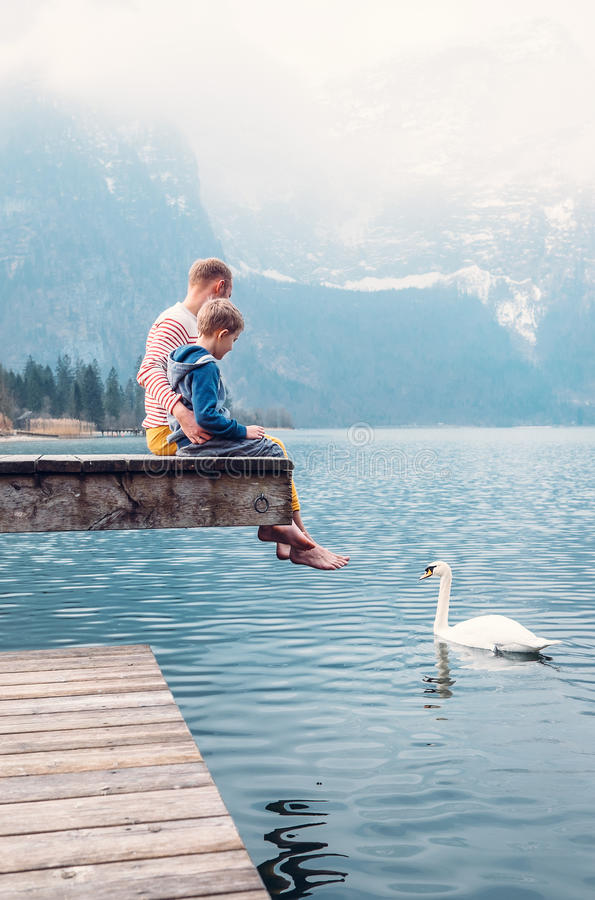 Ojciec z synem siedzi na drewnianym molu i patrzeje na białym łabędź sw fotografia stock