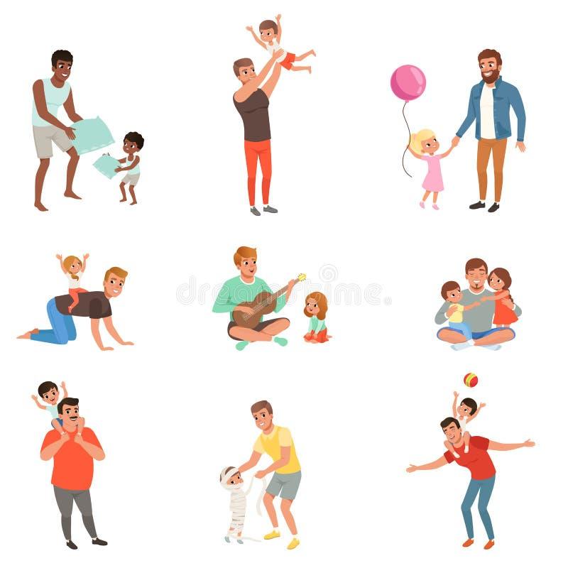 Ojcowie bawić się, ma zabawę i cieszy się wysoka jakość czas z ich małymi dziećmi ustawiającymi wektor, wpólnie ilustracji