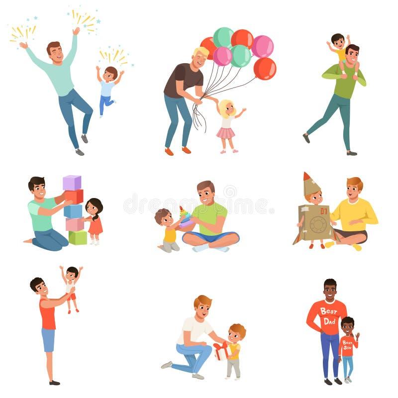 Ojcowie bawić się wysoka jakość czas z ich szczęśliwymi małymi dziećmi i cieszy się ustawiają, ojcostwa pojęcia wektor royalty ilustracja